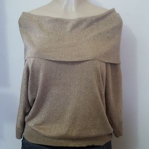 Mitchell Kors  gold sparkly blouse size L
